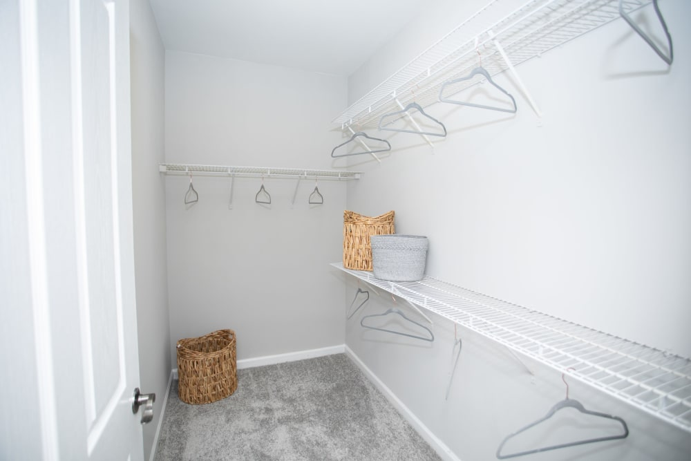Spacious closet at Emblem Alpharetta in Alpharetta, Georgia