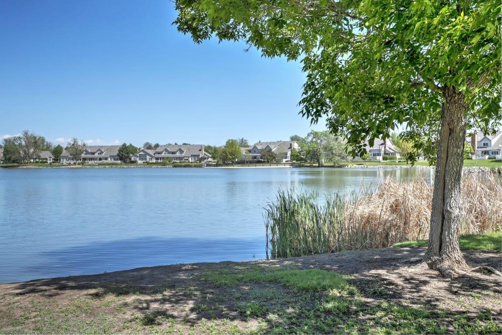 The lake near Promenade at Hunter's Glen Apartments in Thornton, Colorado