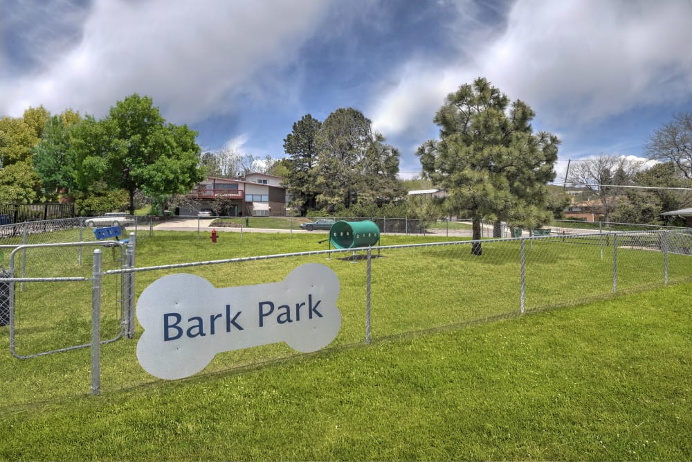 Outdoor park for dogs to run around in at Bluesky Landing Apartments in Lakewood, Colorado
