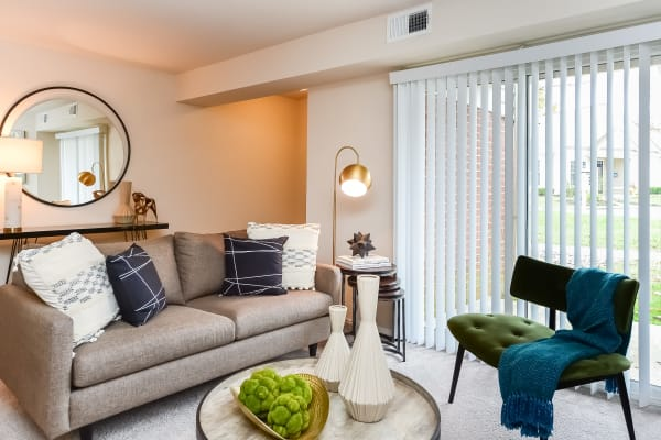 Furnished living room in model home at The Preserve at Milltown in Downingtown, Pennsylvania