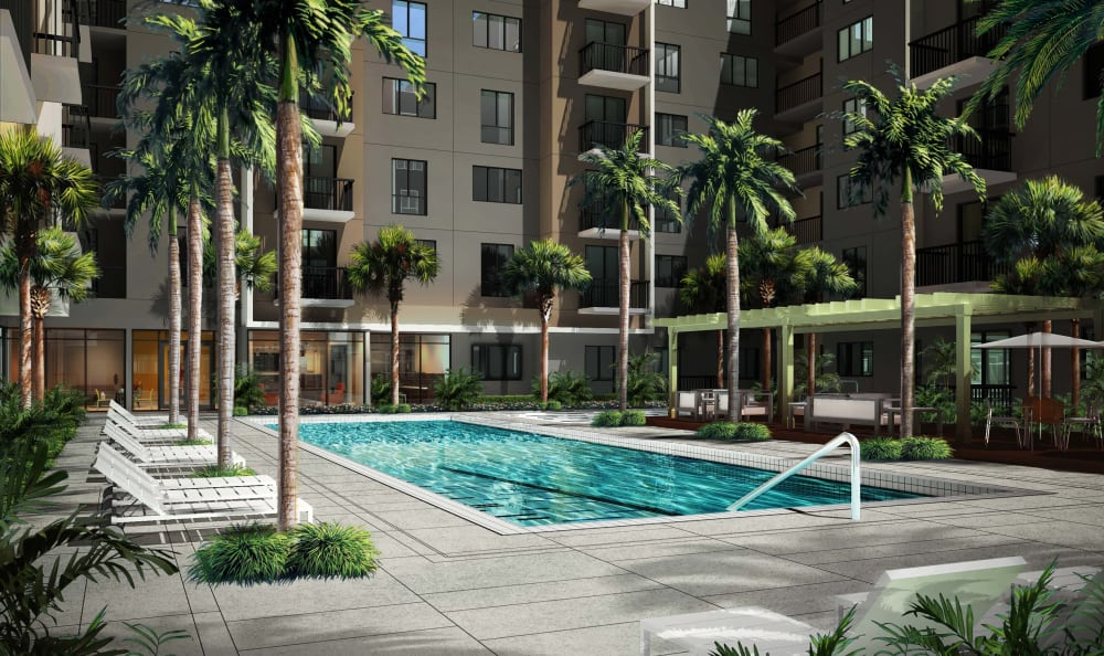 A sparkling pool is just one of the many amenities that Berkshire Coral Gables has to offer.