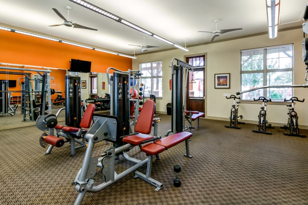Fitness center at Firewheel Apartments in San Antonio