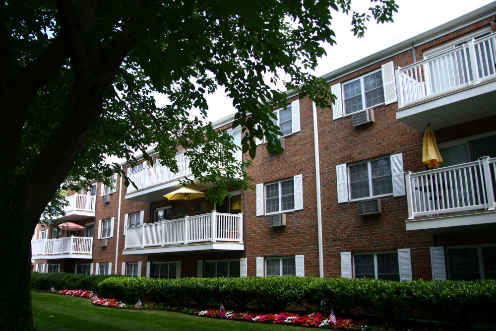 Beautifully maintained green spaces around buildings at Brinley Manor in Bradley Beach
