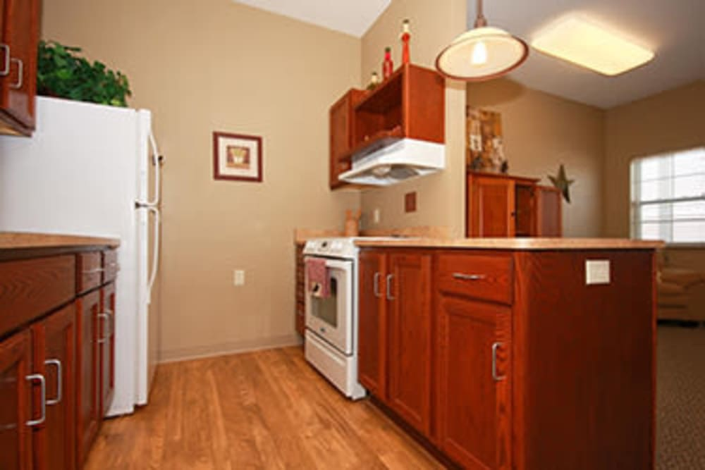 Full kitchen in assisted living apartments at Milestone Senior Living in Faribault, Minnesota.
