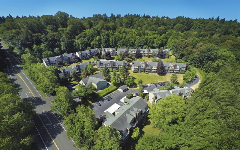 Aerial view of the property at Park South Apartments in Seattle, Washington