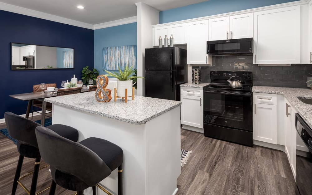 Plenty of cabinet space in model home's kitchen at Cavalier @ 100 in Lithonia, Georgia