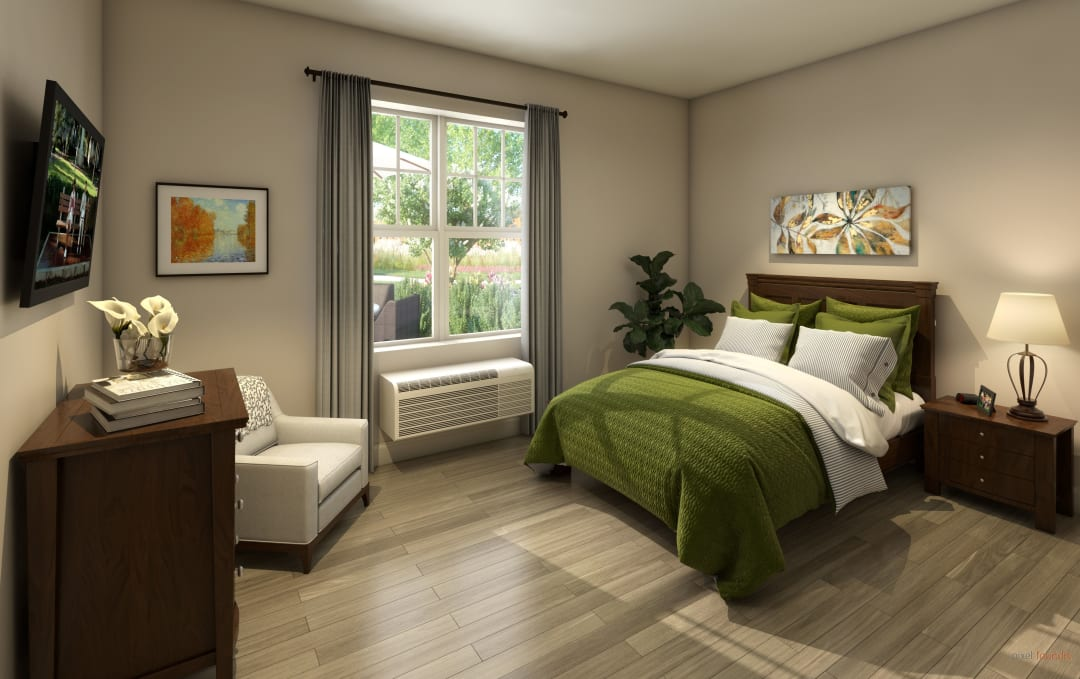 Bedroom in a model apartment at Anthology of Farmington Hills in Farmington Hills, Michigan