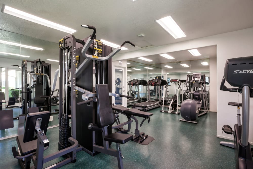 Fitness amenities at Cypress Pointe Apartments in Gilroy, California