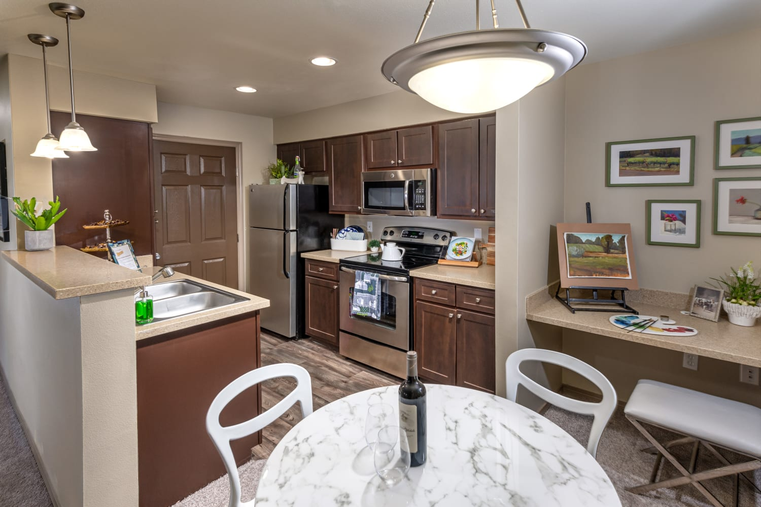Well appointed kitchen at The Knolls at Inglewood Hill in Sammamish, Washington