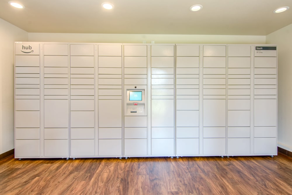 The convenient package room at Lakeview Village Apartments in Spring Valley, California