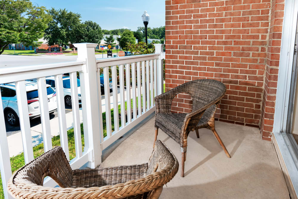 Private balcony at Commons at White Marsh Apartments in Middle River, Maryland