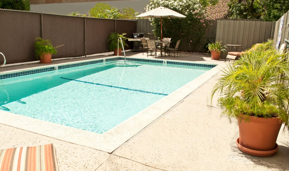 Resort-style swimming pool at The Newporter apartments for rent in Tarzana, California