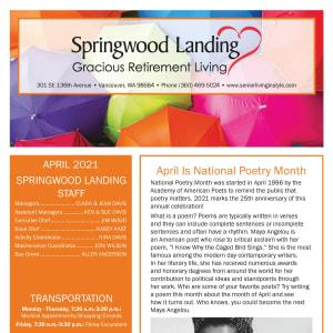 April newsletter at Springwood Landing Gracious Retirement Living in Vancouver, Washington