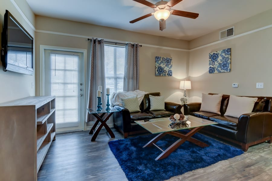 Renovated living room at Hillstone Ranch Apartments in San Antonio, Texas