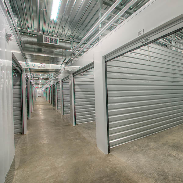 Open climate-controlled units at StorQuest Self Storage in Escondido, California