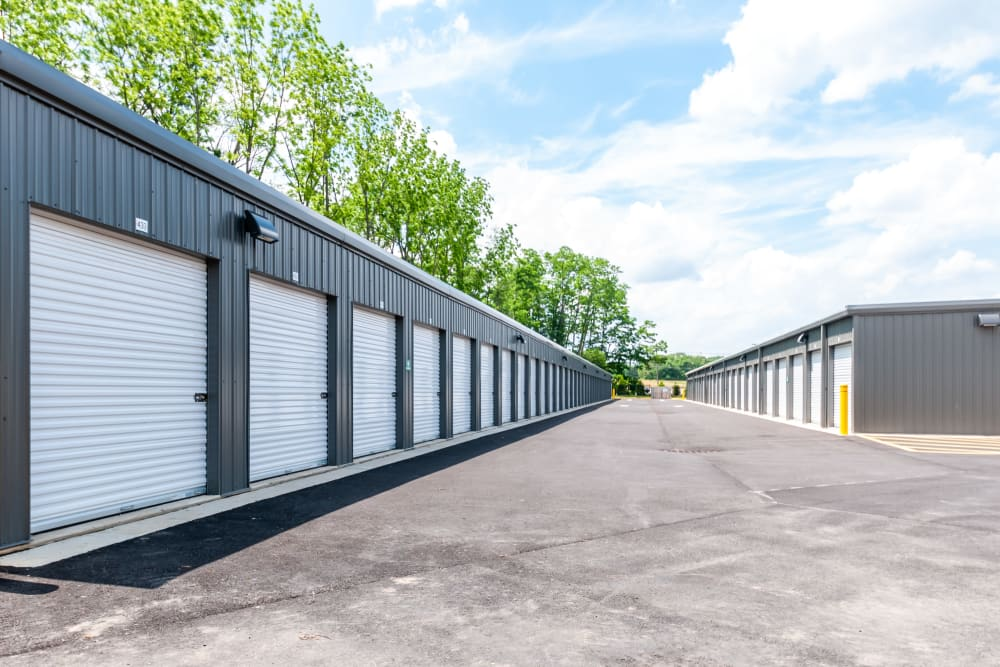 Multiple buildings with outdoor access storage units at Metro Self Storage in Mount Laurel