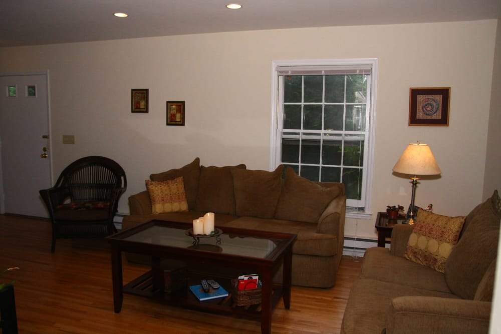 Cozy living room at apartments in Brielle, New Jersey