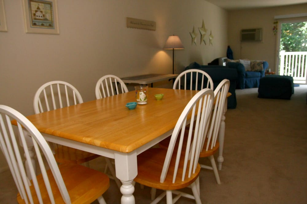 View of dining area and living room at Brinley Manor