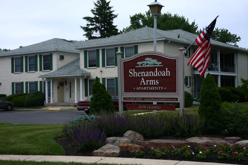 Closer view of our sign and leasing office exterior at Shenandoah Arms