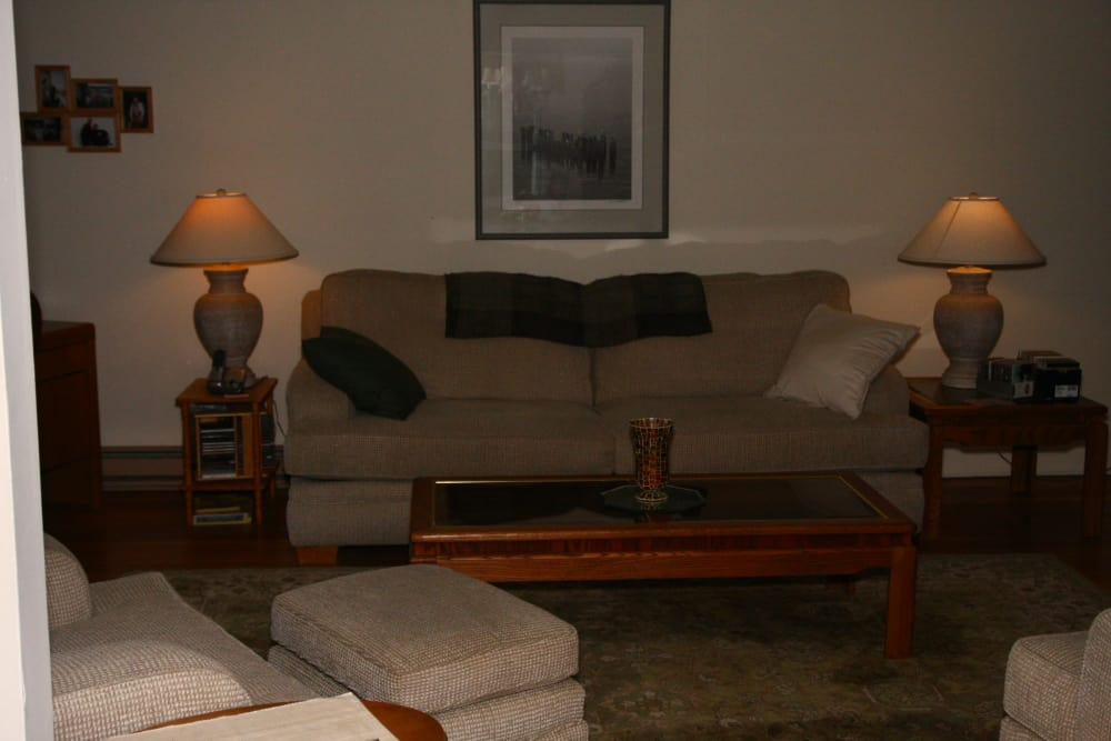 Spacious living room in model home at Shenandoah Arms