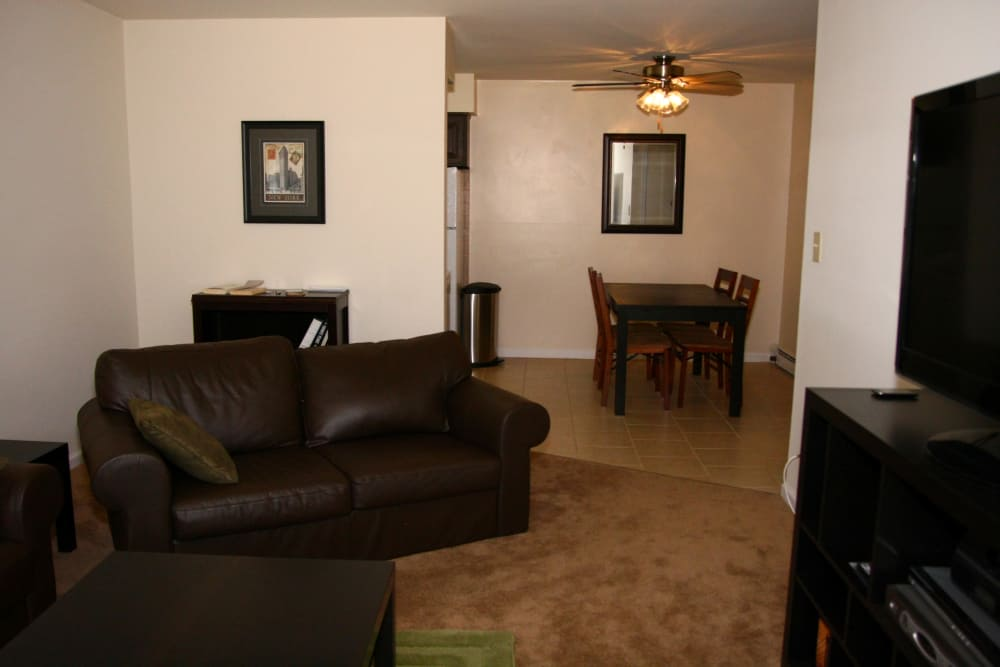 Living room looking into dining area at Terrace Lake Apartments