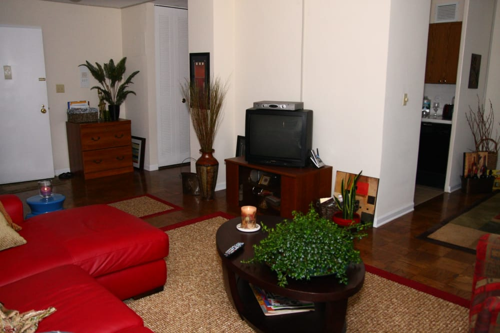 Spacious living room at Carlyle Towers in Caldwell, NJ