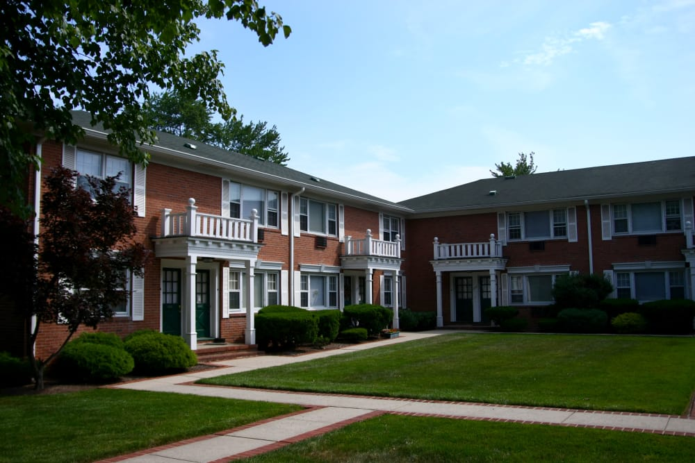Beautiful exterior view of resident building at Cedar Village in Cedar Grove, NJ