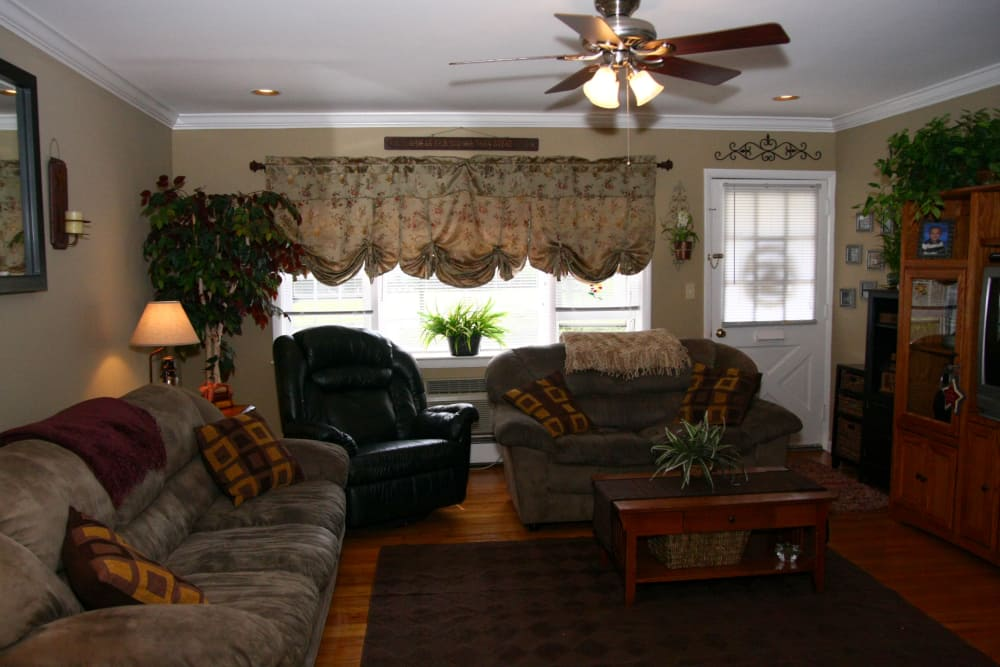 Spacious and lively model home living room at Cedar Village