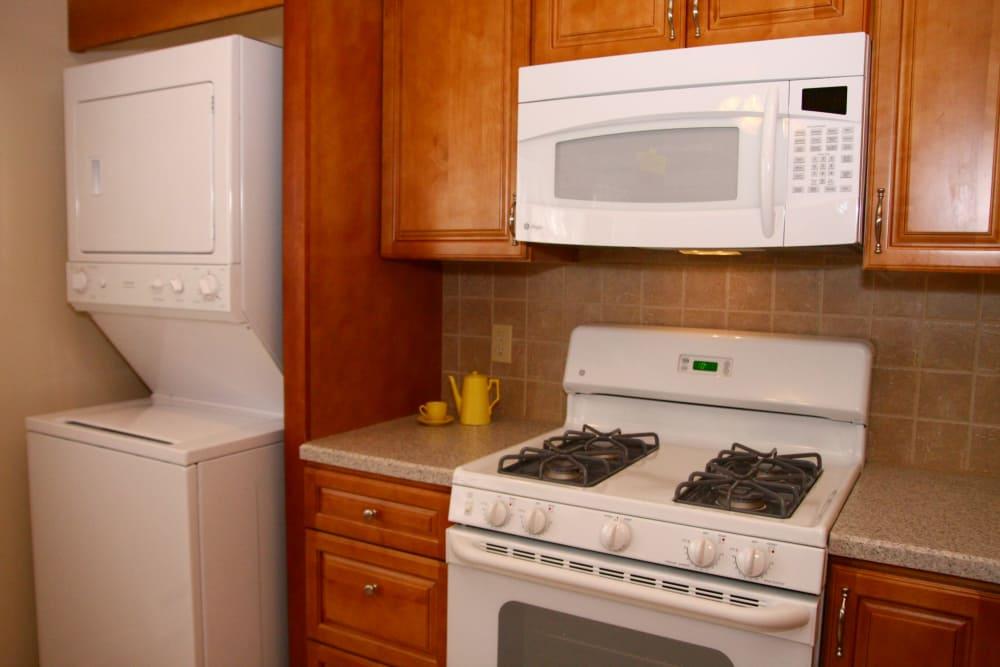 Convenient appliances in kitchen at Cedar Village