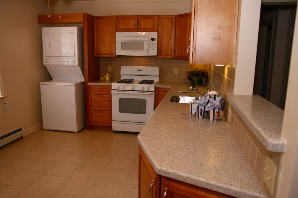 Modern kitchen with all the conveniences you require at Cedar Village in Cedar Grove