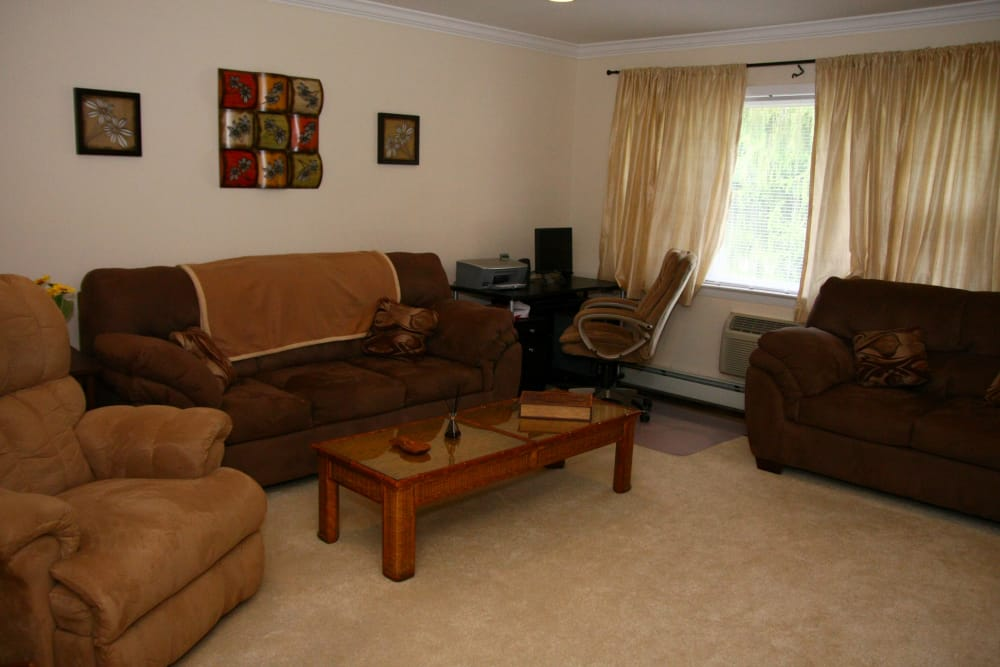 Another living room model with brown couches at Cedar Village