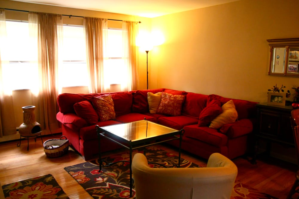 Spacious living room at Haddon Knolls Apartments in Haddon Heights, NJ