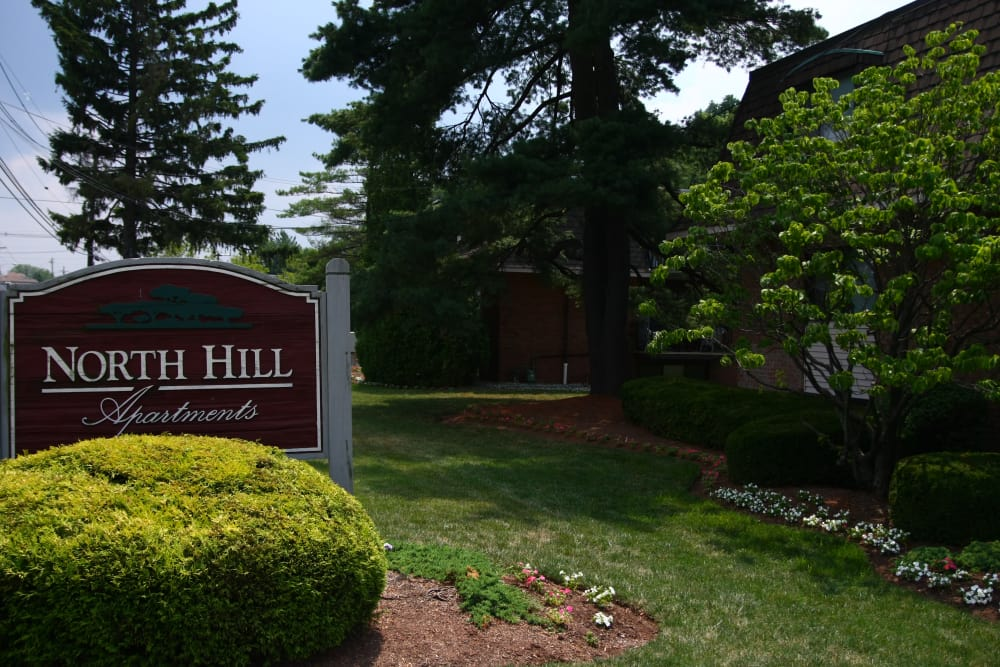 Sign welcoming residents and guests at North Hills Apartments