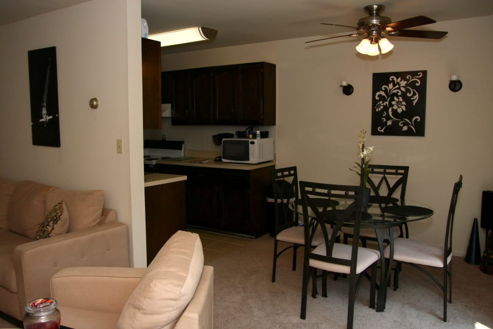 Complete view of dining room and kitchen at North Hills Apartments