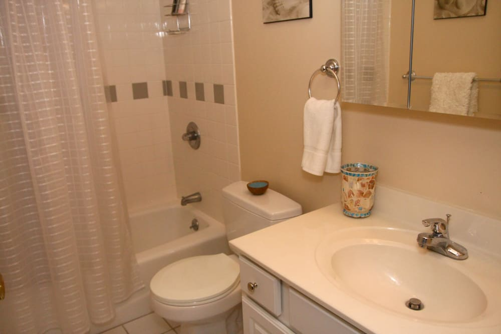 Beautiful bathroom with tub at North Hills Apartments