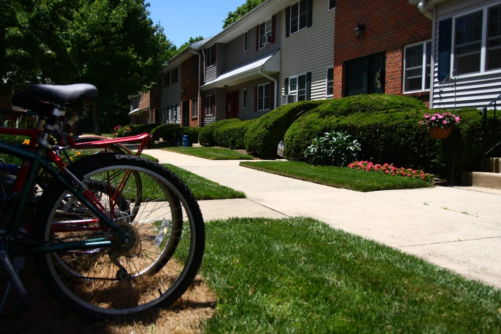 Bikes near walking paths at Park Apartments