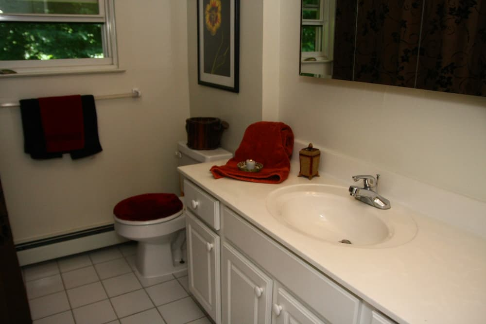 Spacious bathroom at Pointe Breeze Apartments in Bordentown, New Jersey