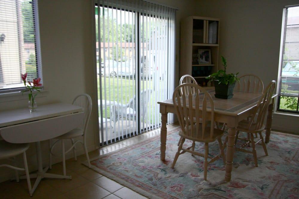 Sun-lit dining room at Timber Ridge