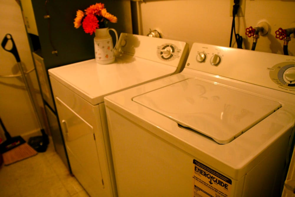 Washer/dryer in model unit at Timber Ridge
