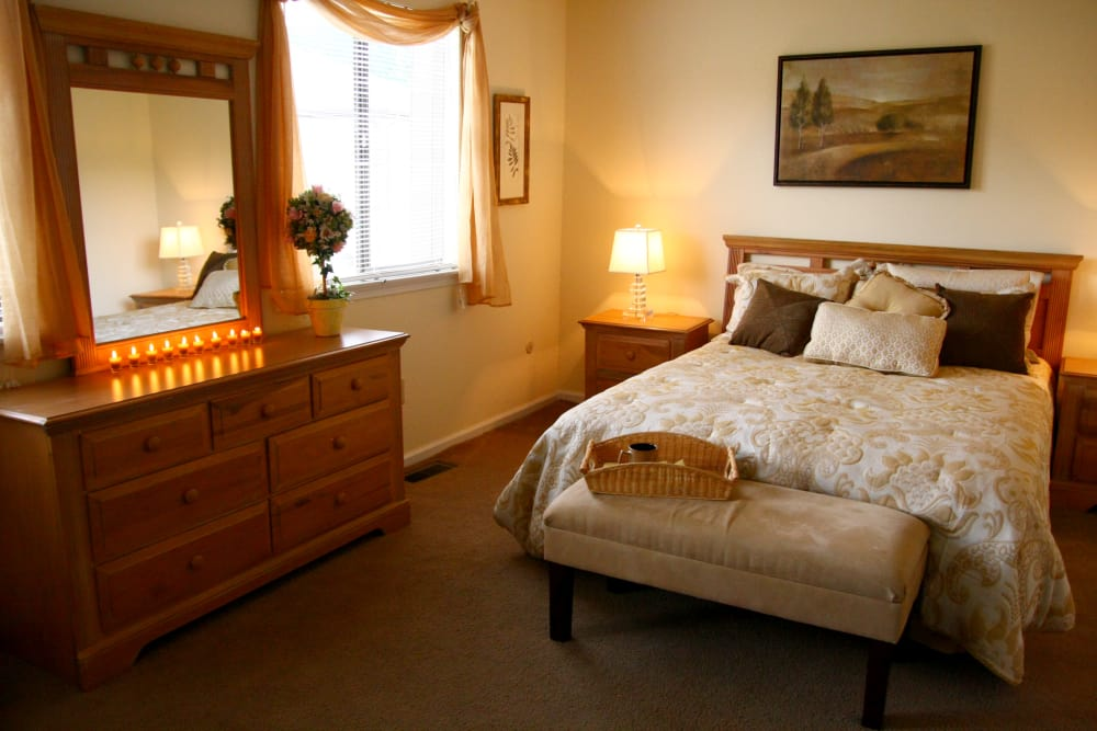 Sun-lit bedroom at Timber Ridge