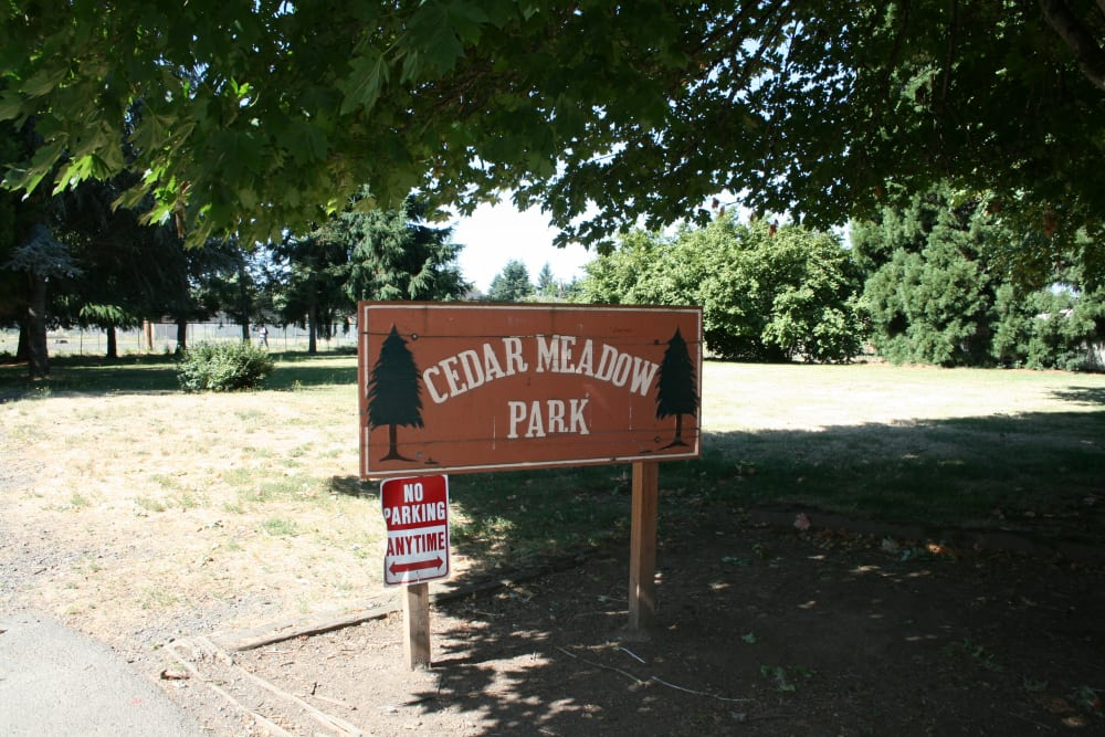 Front Sign of Cedar Meadow in Eugene, Oregon