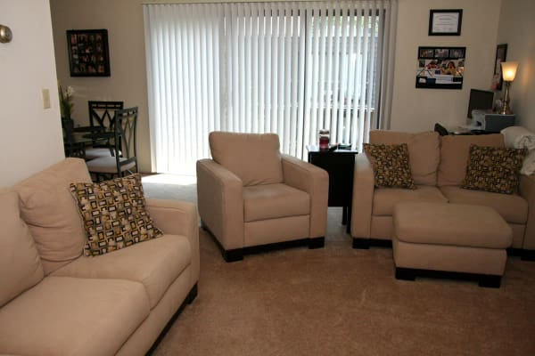 Living room model at North Hills Apartments