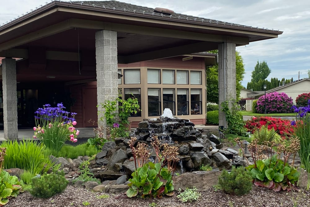 Beautiful water feature and landscaping at The Springs at Lancaster Village in Salem, Oregon