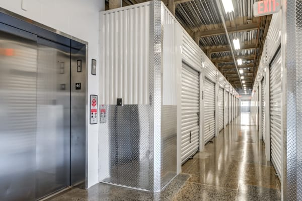 Clean Metro Self Storage interior units and hallway in North Plainfield
