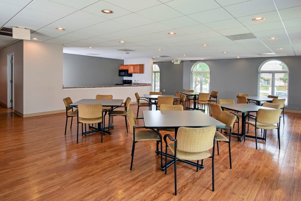 Clubhouse dining room at Commons at White Marsh Apartments in Middle River, Maryland