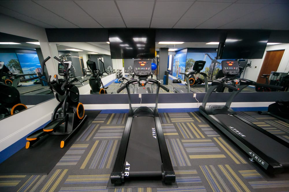 Treadmill and elliptical equipment in fitness center at The Reserve at 4th and Race in Cincinnati, Ohio