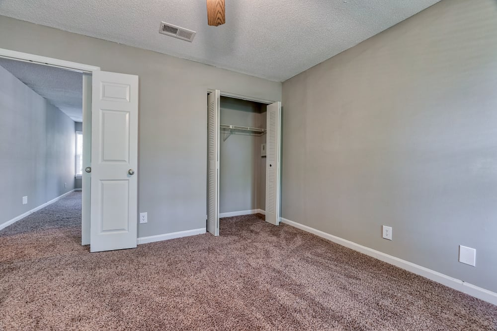 bedroom with closet at The Gatsby at Midtown in Montgomery, Alabama