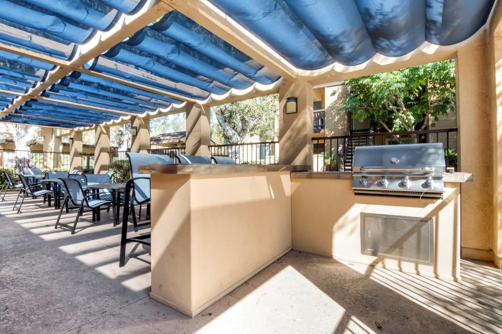 Covered barbecue area poolside at Terra Nova Villas in Chula Vista, California