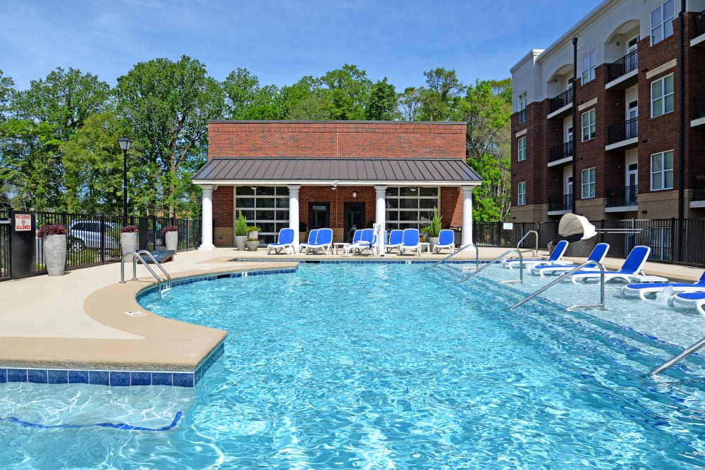 Sparkling pool and deck at Morehead West in Charlotte, North Carolina
