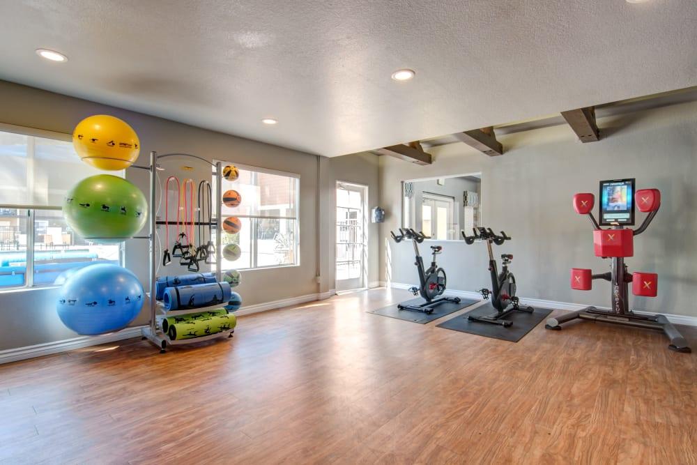 The fitness on demand room complete with a boxing machine at Terra Nova Villas in Chula Vista, California
